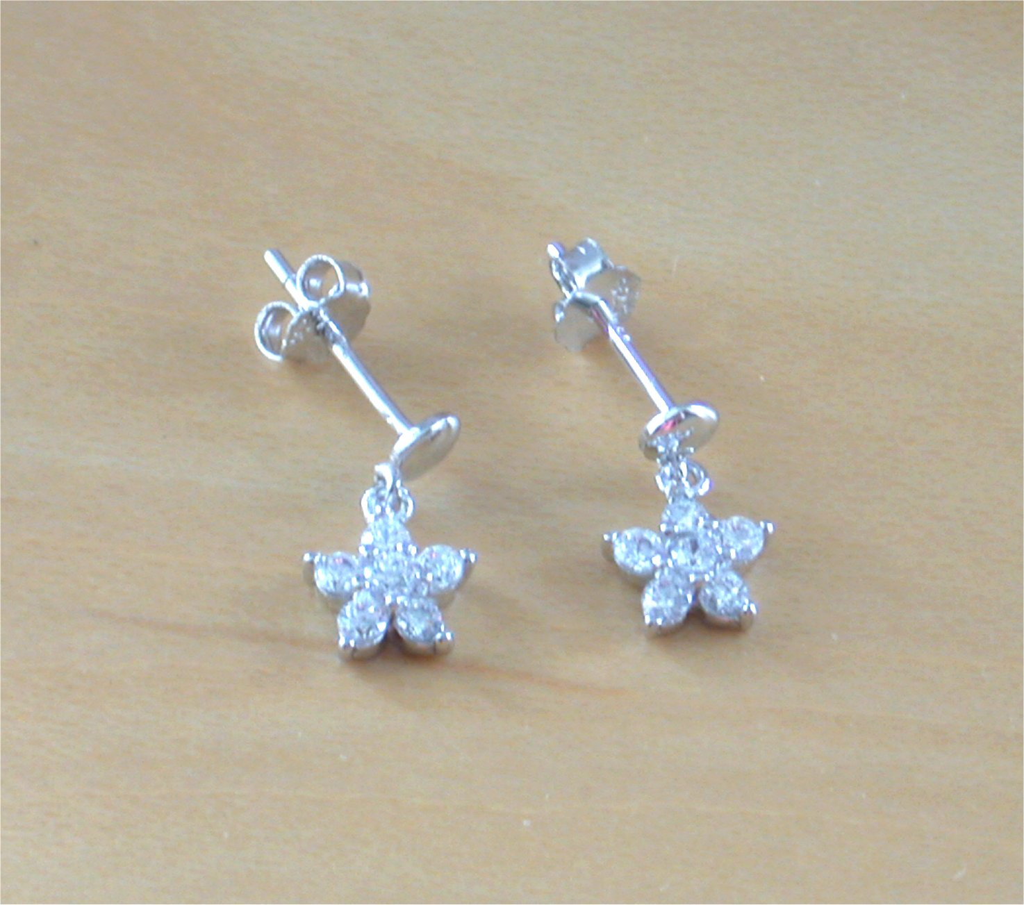 925 Silver Clear Cz Daisy Earringssmall Silver Daisy Stud Earrings