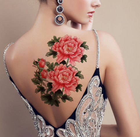 Peony flower temporary tattoo tattoos for women adults for Adult temporary tattoo