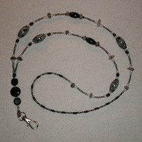 Beaded Lanyard Black/White/Grey