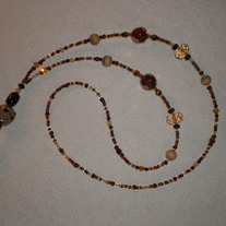 Beaded Lanyard Brown/Amber/Tan