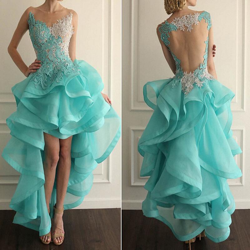 High Low Ruffle Prom Dressesorganza Hi Lo Dress Long Homecoming
