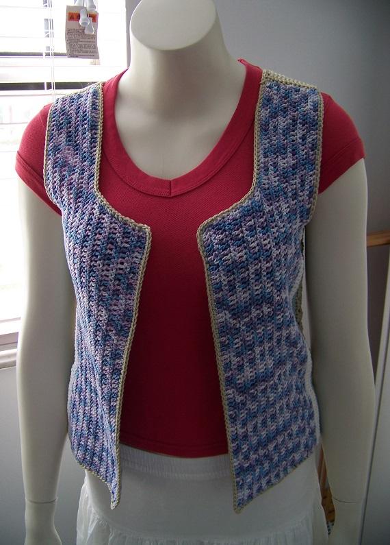 Crochet Granny Square Vest Pattern : Vintage Crochet Multi Colour Granny Square Vest ...