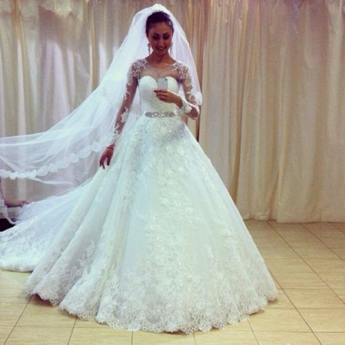 Weddings Long Sleeve White Lace Wedding Dress A Line Button Sweep ...