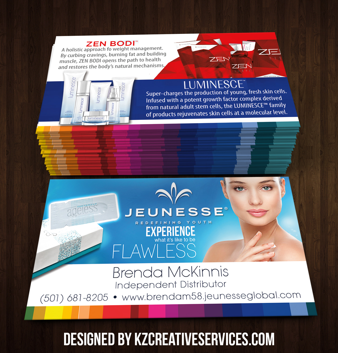 Jeunesse Business Cards style 6 · KZ Creative Services · line