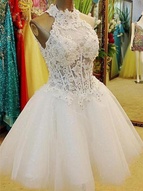 Short Tulle wedding dress,A-Line Halter wedding dress,White Mini ...