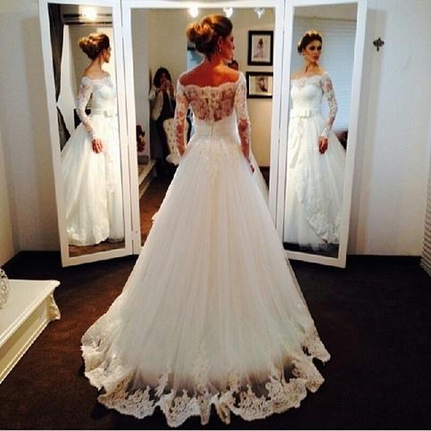 vintage bridal bride long sleeve white lace wedding