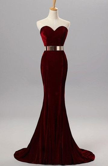 Burgundy Mermaid Prom Dress Sweetheart Neckline Evening Party Gown ...