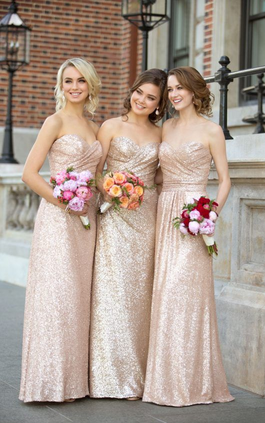 Sequin bridesmaid dresses, Sweetheart bridesmaid dresses, Gold ...