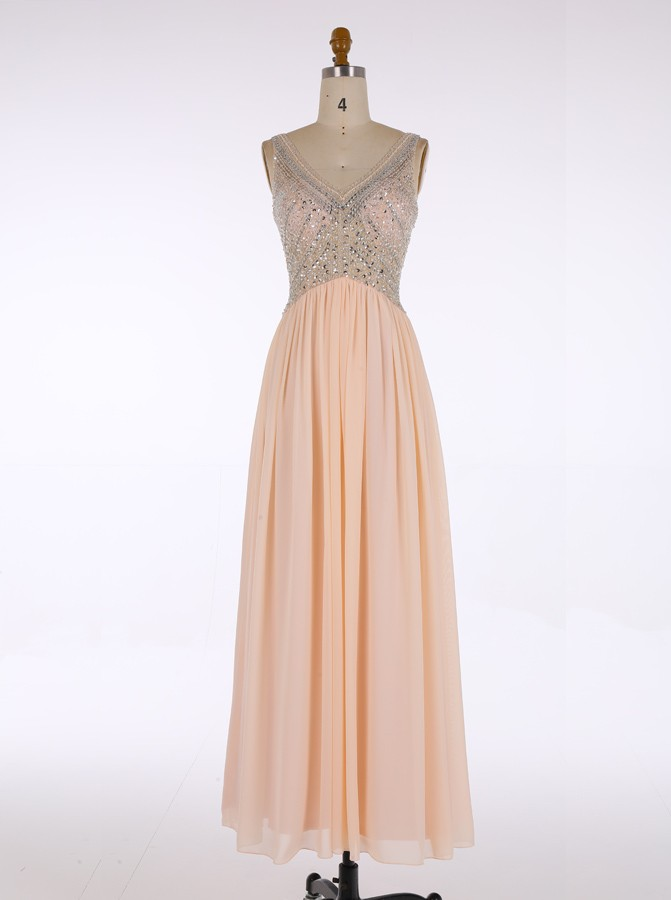 Prom Dress With Beading And Stones Deep V Neckline Evening Gown ...
