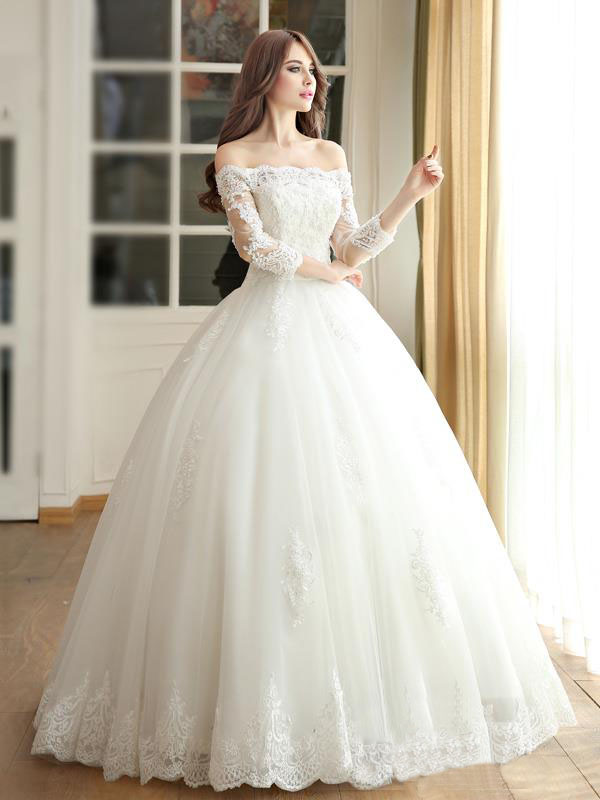 Long Princess wedding dress,Long Sleeves wedding dress,White Pretty ...