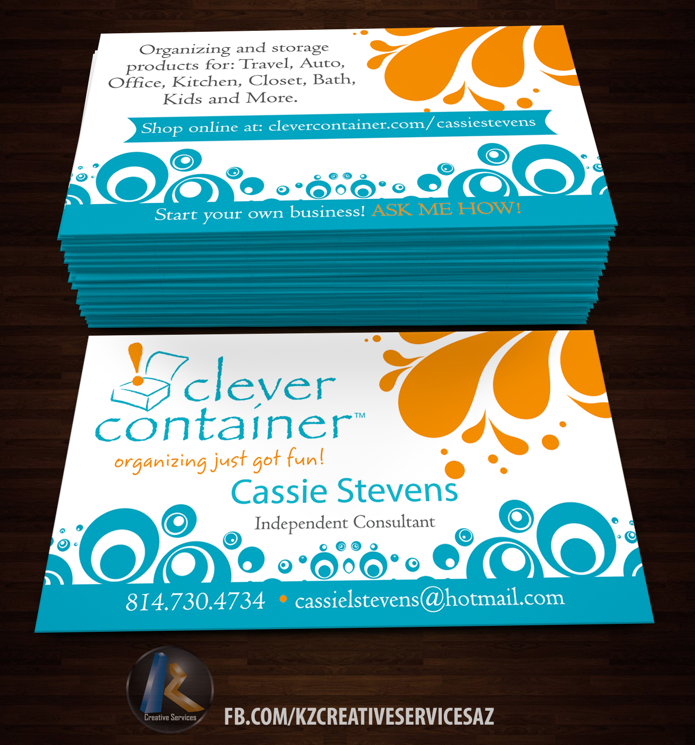 Clever Container Business Cards style 1 · KZ Creative Services