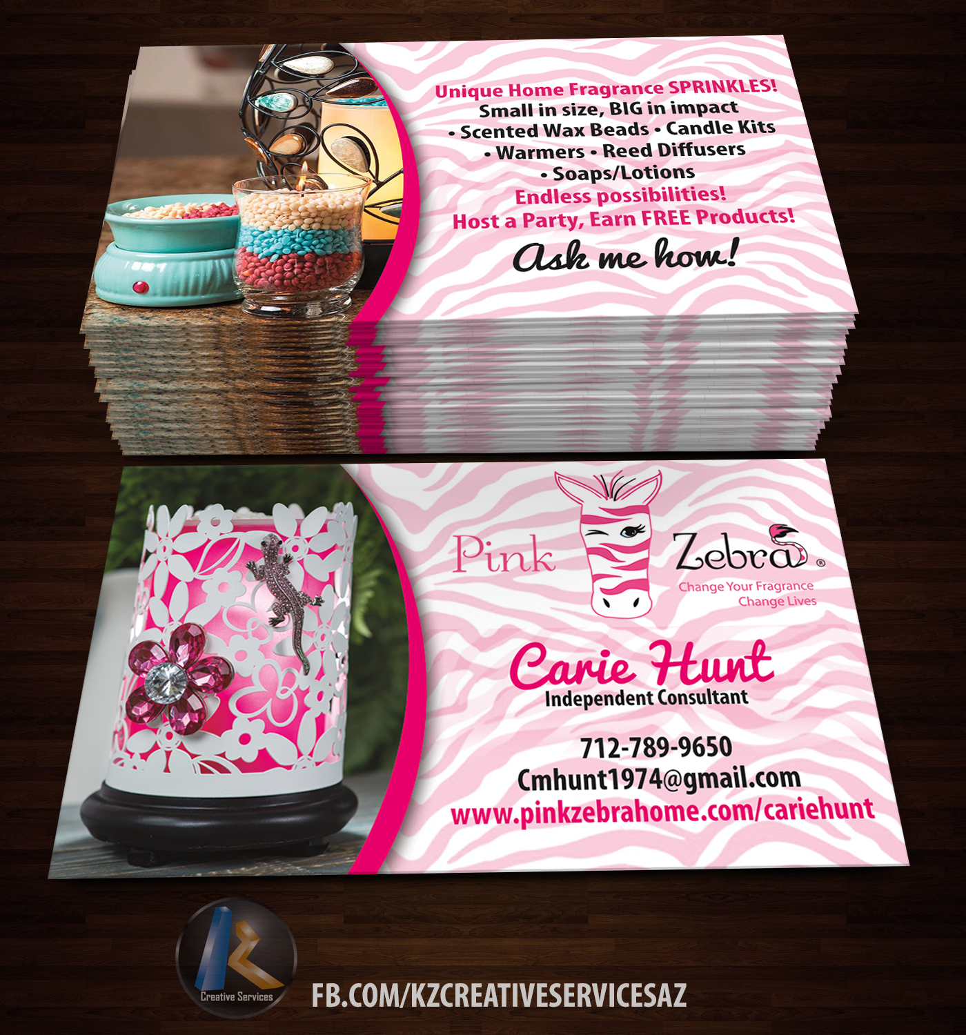 PINK ZEBRA business Cards style 1 · KZ Creative Services · line