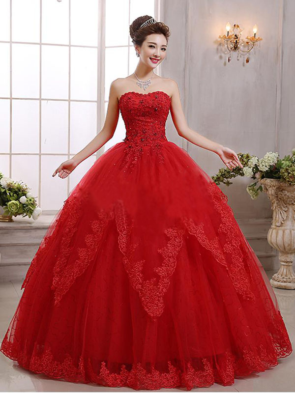 Long Red Wedding dress,Princess Wedding dress,Unique Strapless ...