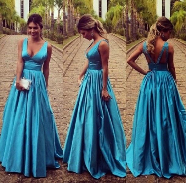 High Quality Prom Dress,Charming Prom Dress,V-Neck Prom Dress,Satin ...