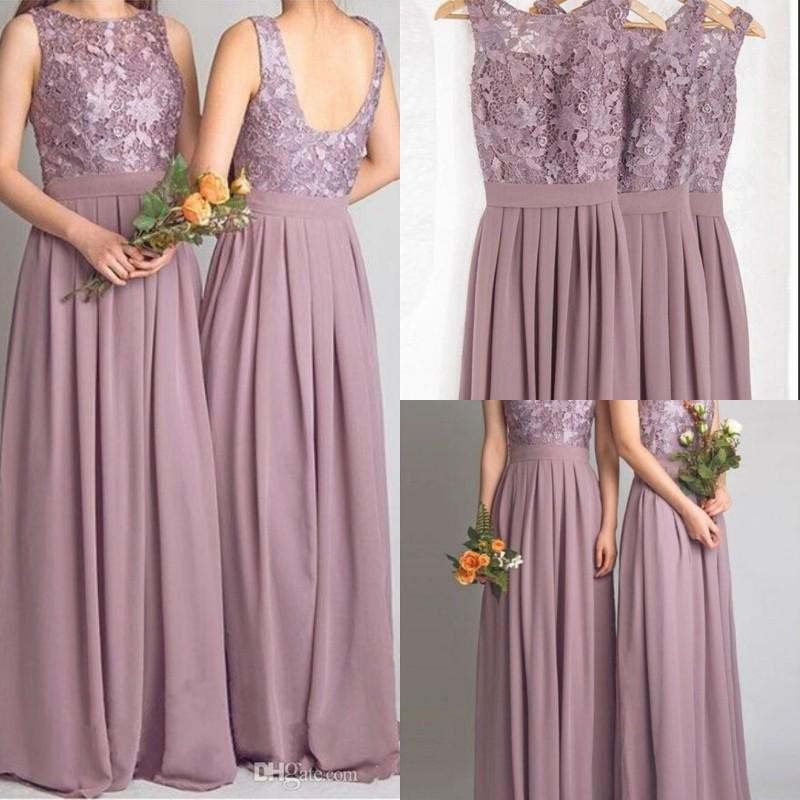 Long Dusty Purple Lace Custom Bridesmaid Dresses, FS6583