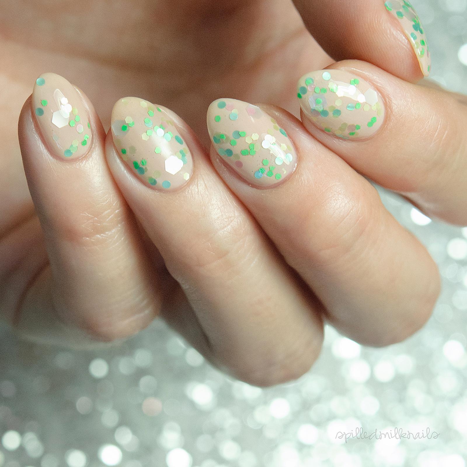 Merman - custom glitter topper pastel green aqua pink white nail ...