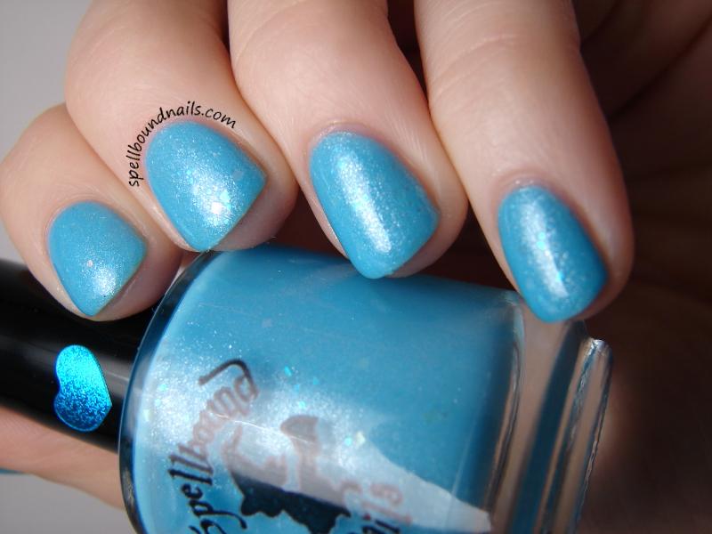 Gone Fishing - custom sky ocean blue shimmer nail polish iridescent ...
