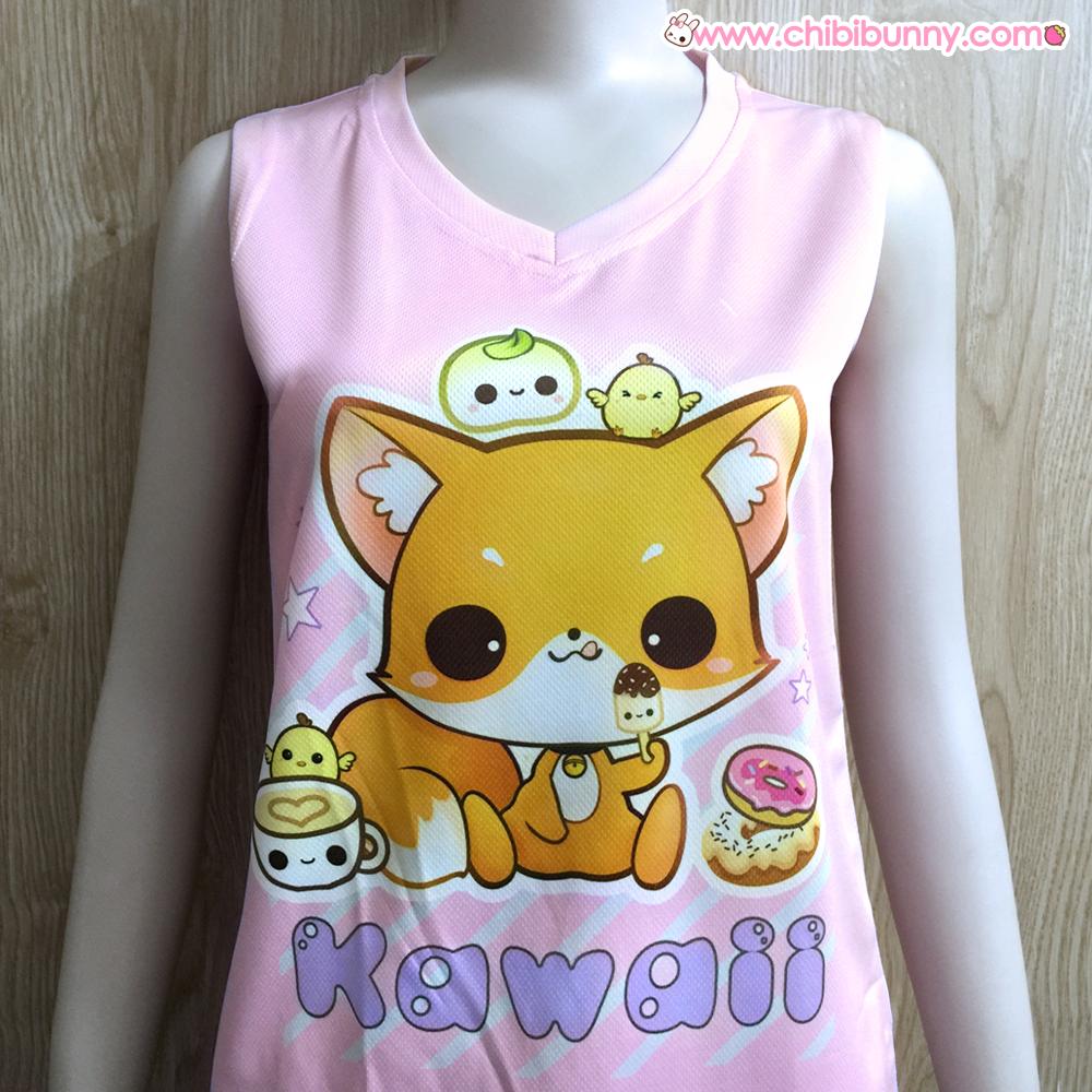 Uncategorized Kawaii Fox kawaii fox mesh tank top and t shirt bt1 t5 chibi bunny t5