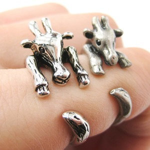Realistic Giraffe Animal Wrap Ring in Shiny Silver Sizes 4 to 9 Available