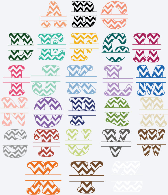 Split chevron letters vinyl name decal sticker personalized split alphabet stickers
