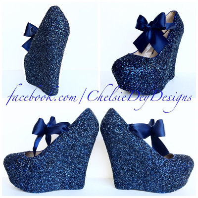 Beautiful Navy Blue Wedge Glitter Heels   Dark Blue Platform Shoes   Wedding Shoes  Blue Satin Bows