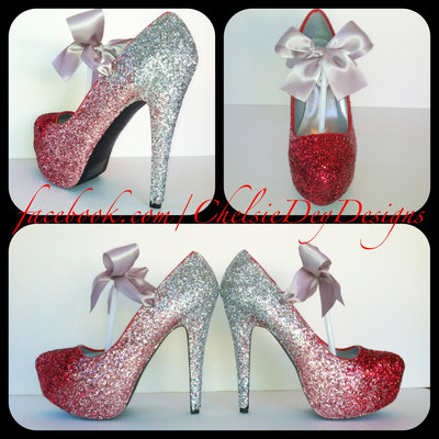 Glitter High Heels - Red Pink Silver Pumps - Cherry Ombre Platform ...