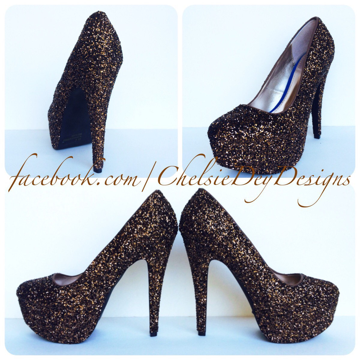 Brown Glitter High Heels - Brown Pumps - Copper Chocolate Chesnut Camel -  Antique Platform Shoes