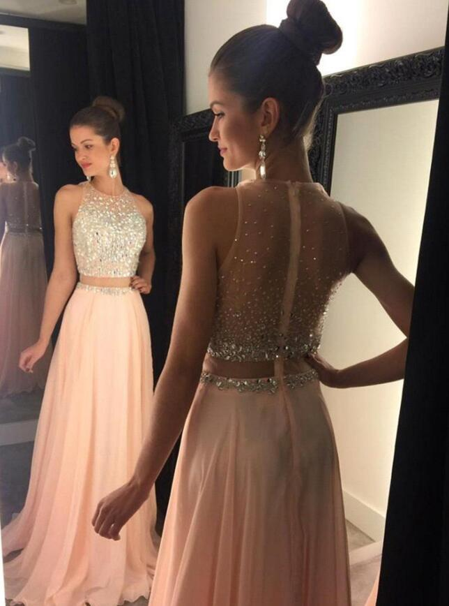 New Blush Prom Dresses 2016, Two Pieces Prom Dress, Chiffon Prom ...