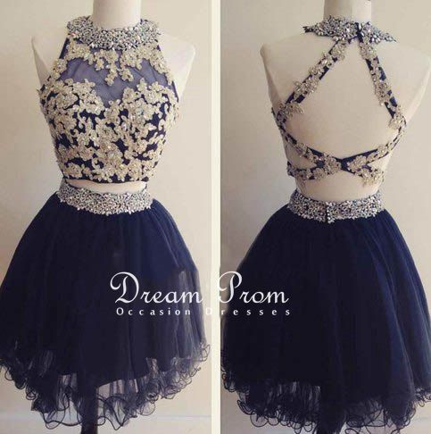 Cute two pieces deep blue short prom