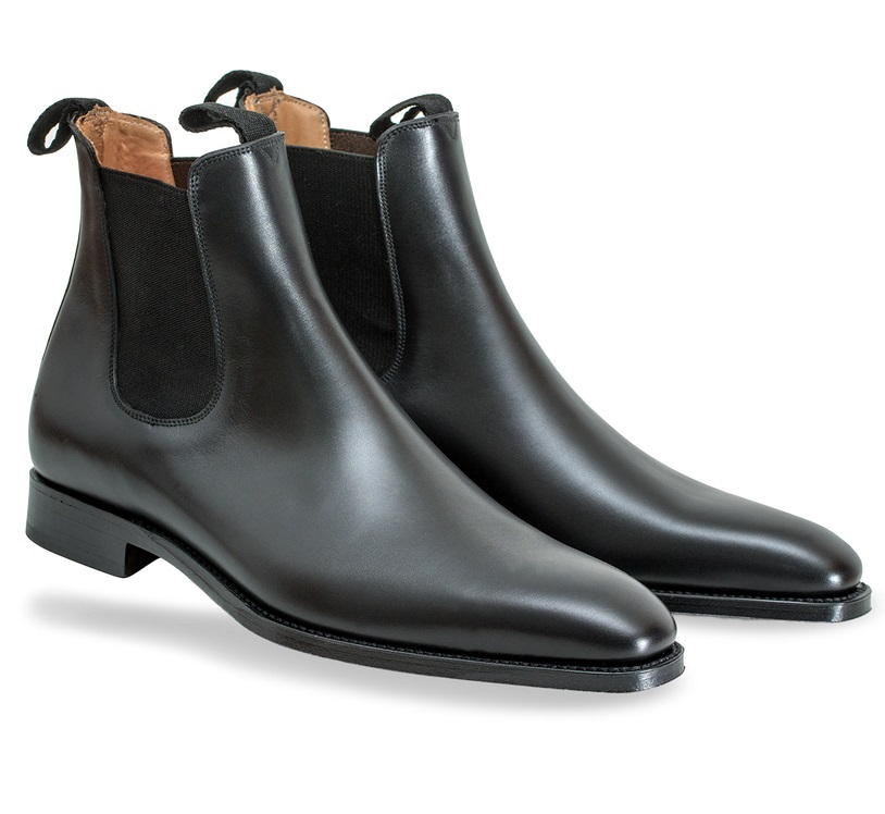 handmade genuine leather chelsea boot black ankle