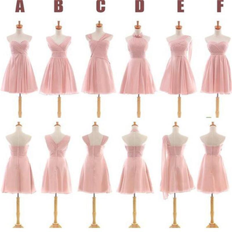 Pink short bridesmaid dresses a line custom bridesmaid for Pink wedding dress short