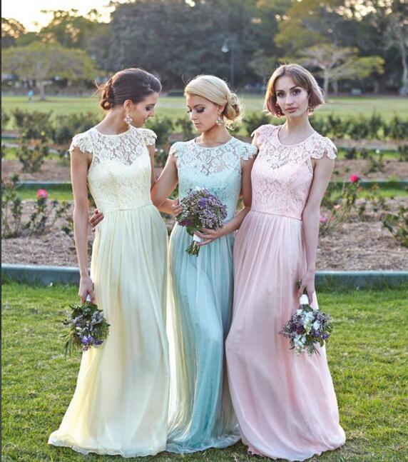 long bridesmaid dresses, lace bridesmaid dresses, free custom ...