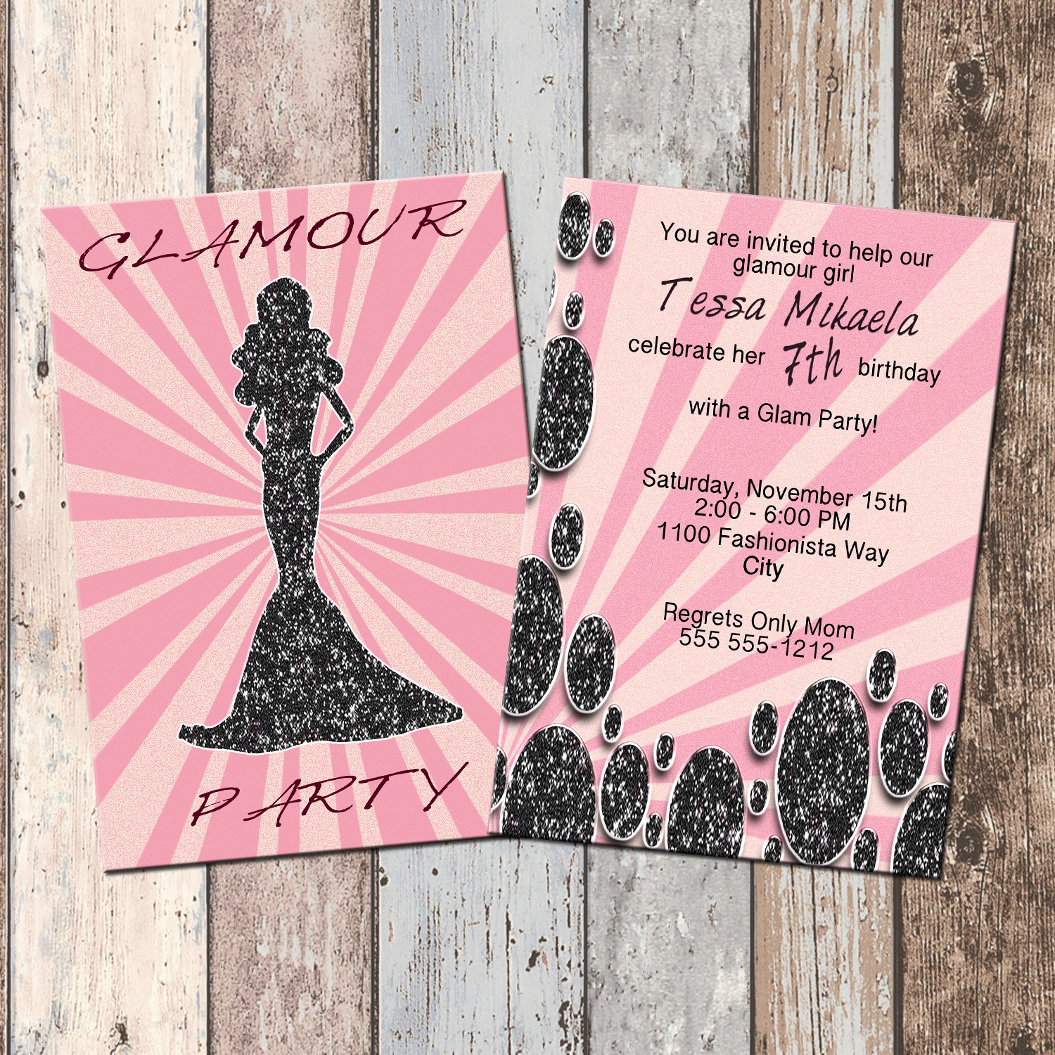 barbie glamour party personalized birthday invitation 2 sided