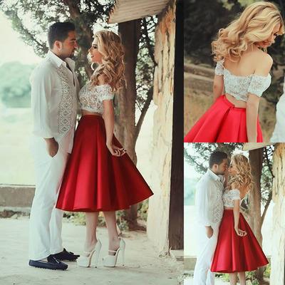 Lace prom dresses, short prom dresses, satin homecoming dresses, two ...