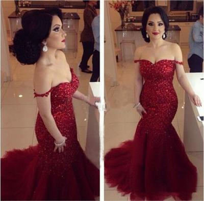 Red Sequin Prom Dresses Off Shoulder Prom Dresses Mermaid Prom