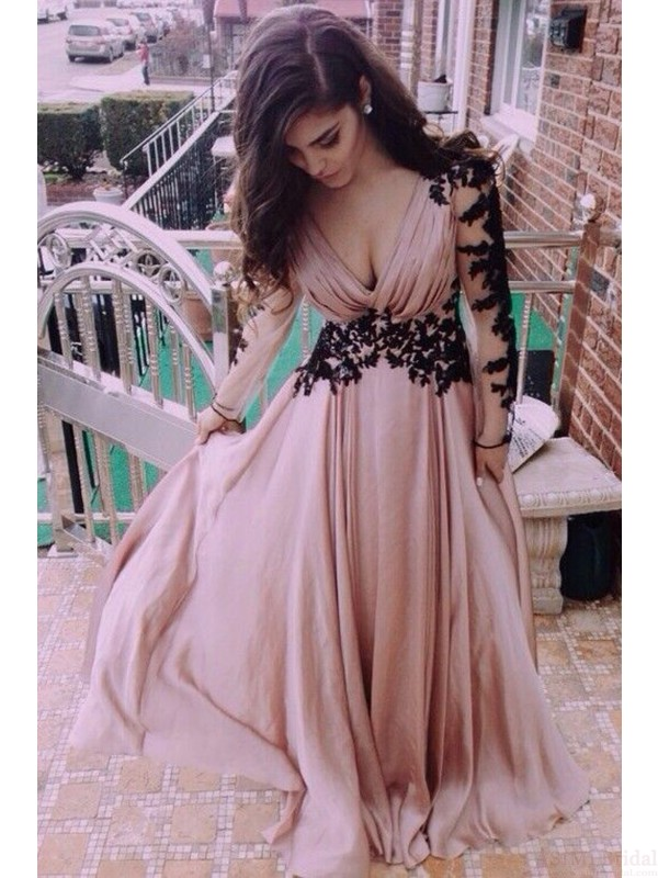 V-Neck prom dresses, lace prom dresses, long sleeve a-line prom ...