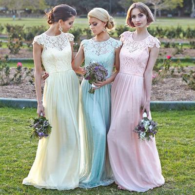 Lace Bridesmaid Dress, Cap Sleeve