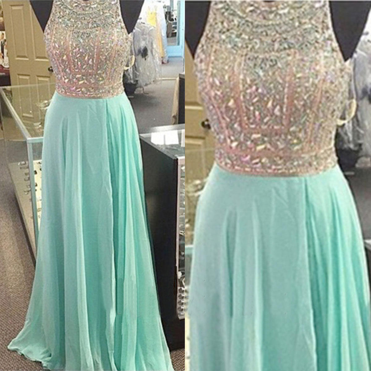 Green prom dresses, beaded prom dresses, heavy beaded dresses ...