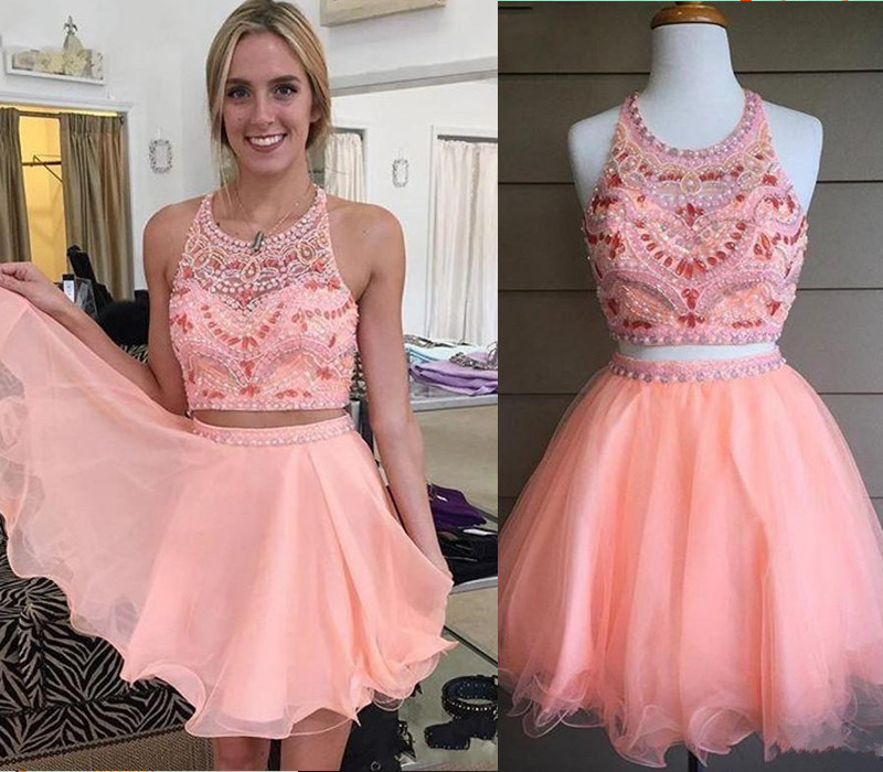 Two pieces homecoming dresses, short homecoming dresses, beaded ...