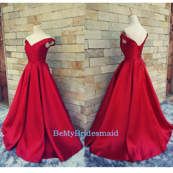 Beautiful Red Satin Off Shoulder V
