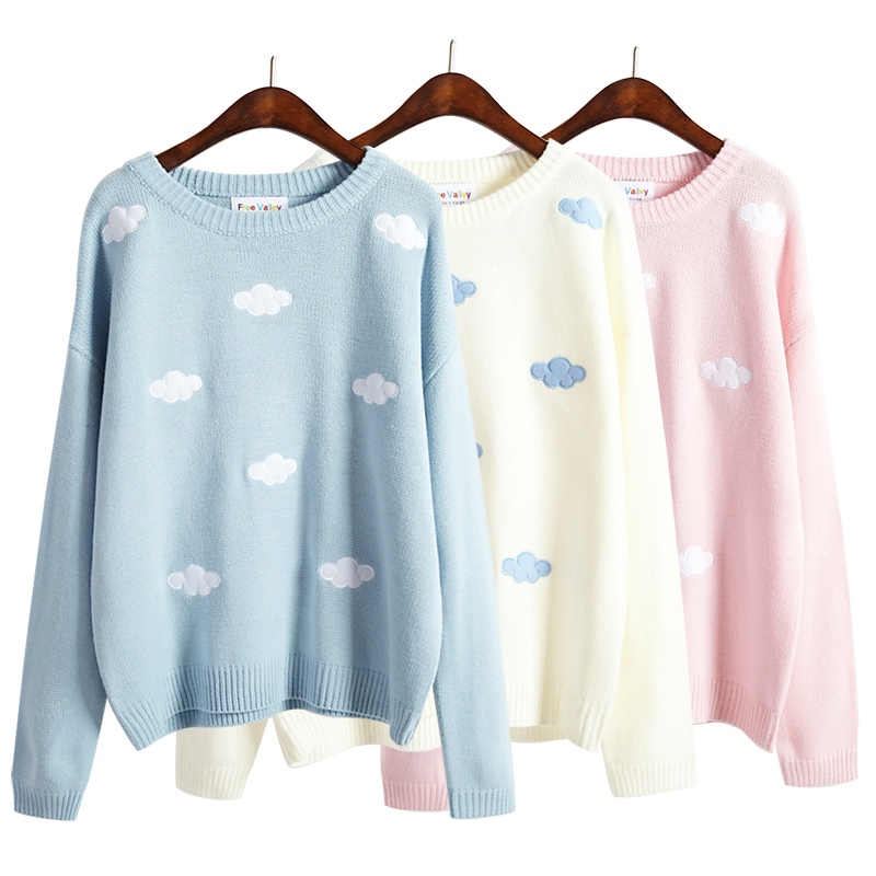 Sweet patch embroidery clouds sweater knit · Fashion Kawaii [Japan ...