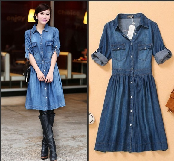 Blue Denim Dress Plus Size Available Up To Xxxxl Kalliopes