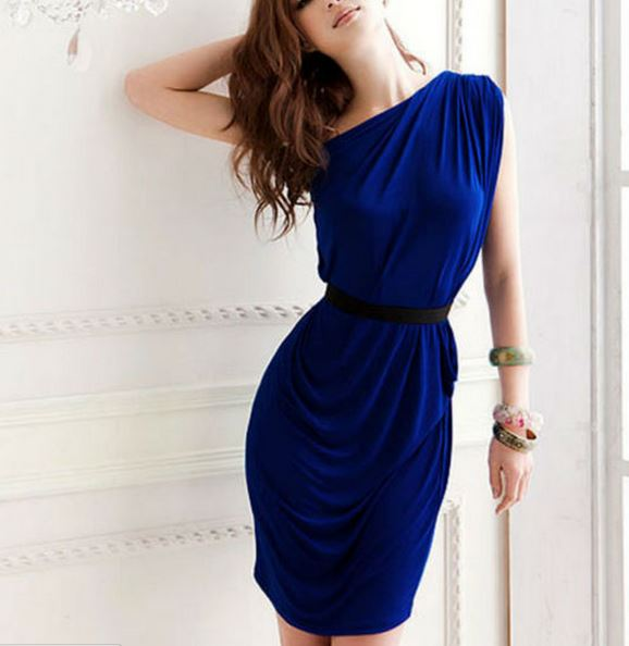 One Shoulder Casual Sexy Women Party Mini Dress with Belt · Daisy ...