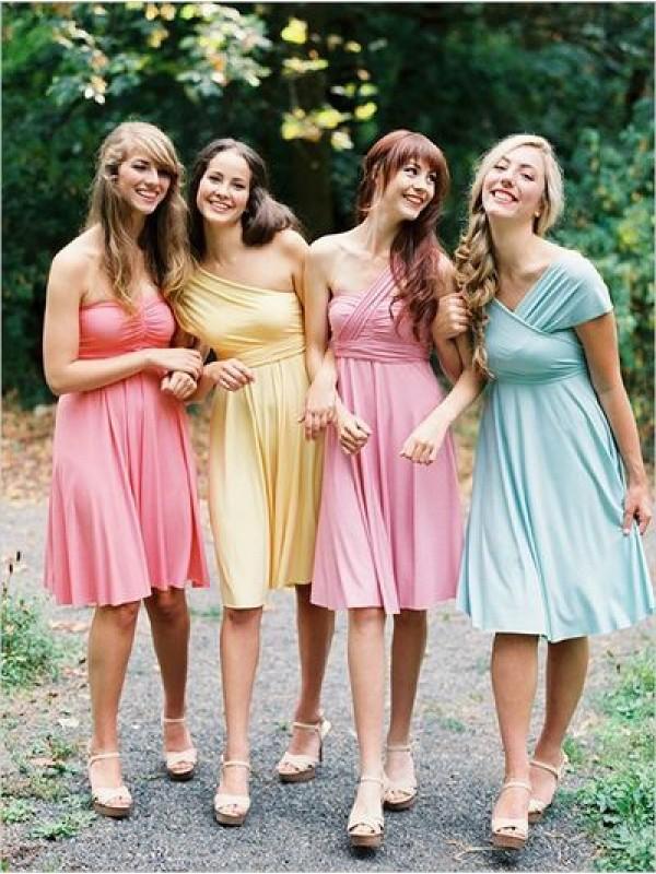 Short bridesmaid dress,one shoulder Convertible bridesmaid dresses ...