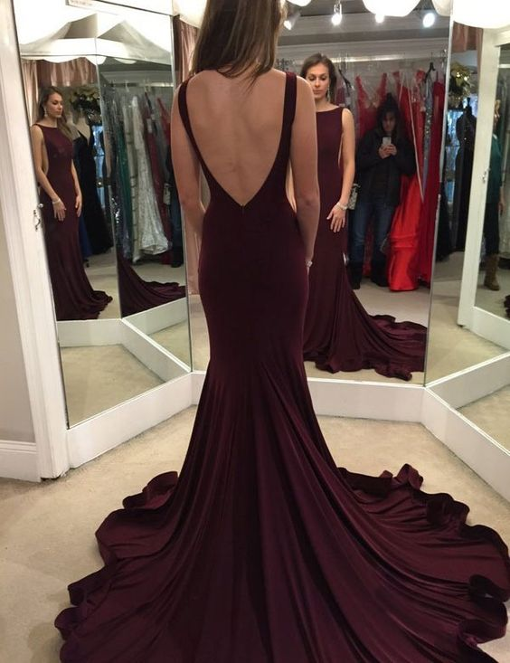 Elegant Scoop Long Prom Dresses,Sweep Train Maroon Backless Evening ...
