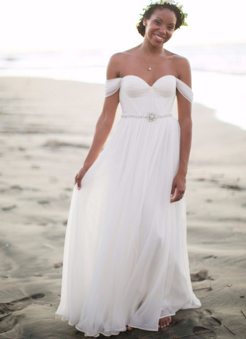 Beach Wedding Dress A-line Off Shoulder White Ruched Chiffon Long ...