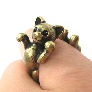 3D Realistic Two Tailed Kitty Cat Animal Ring in Bronze - Sizes 5 to 9 Available