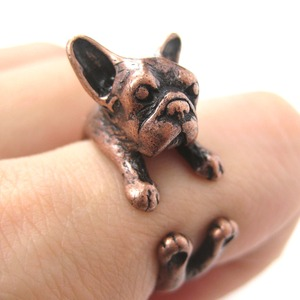 French Bulldog Puppy Animal Wrap Ring in Copper - Sizes 4 to 9 Available