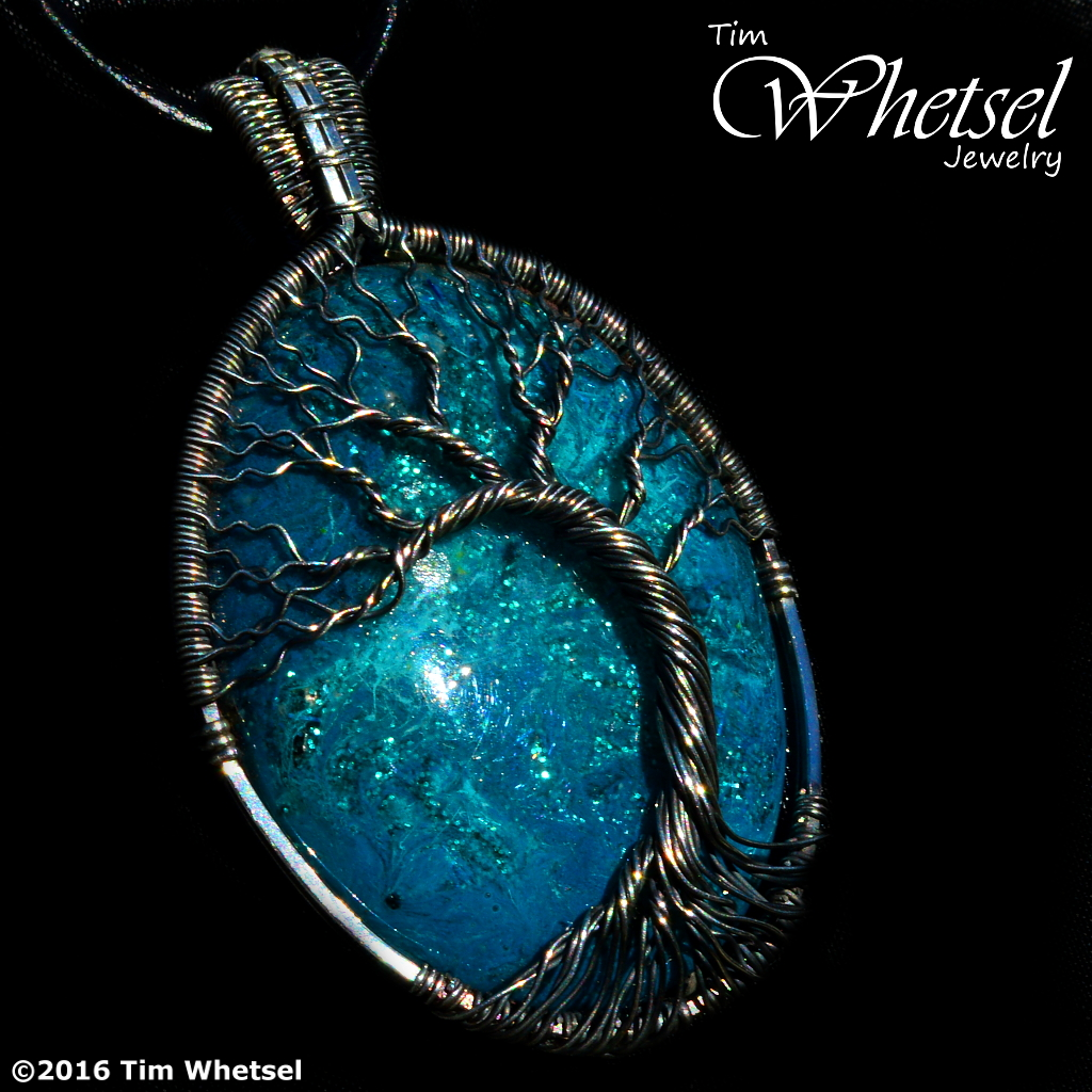 Silver Wire Wrap Tree of Life Pendant - Blue Glow in The Dark Orgone ...