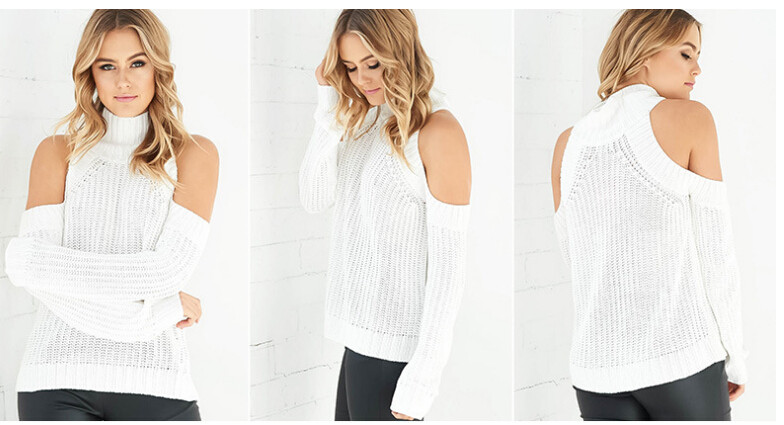 HOT CUTE HIGH COLLAR OFF SHOULDER SWEATER · kslademade · Online ...